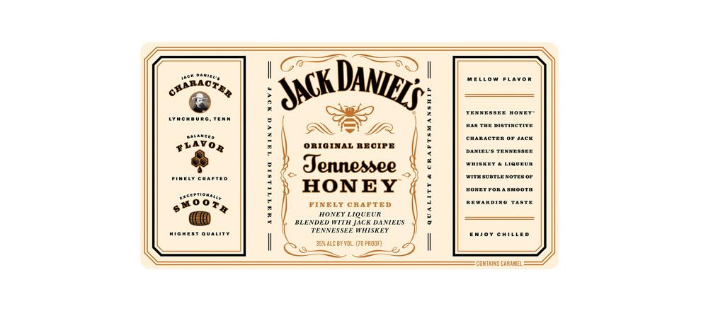 Jack Daniel   s Tennessee HoneyJack Daniels Honey Whiskey Label