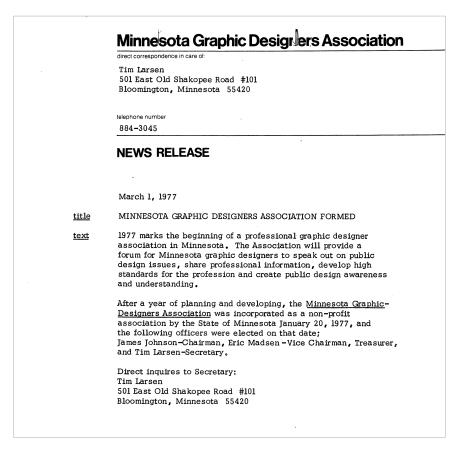 MGDA Press Release, 1977