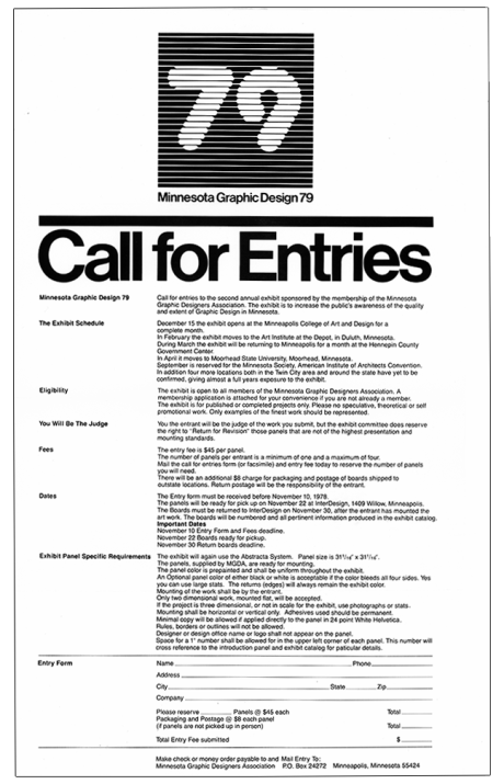 Minnesota Graphic Design 79 Call for Entries, Design by Robert Fleming, 1978