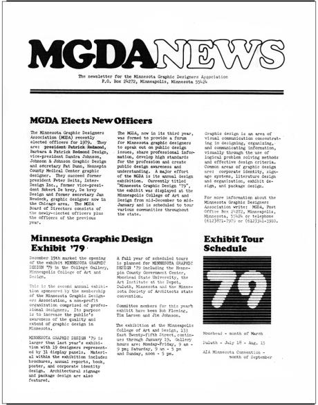 First MGDA Newsletter, Designer: Patrick Dunn, Editor: Patrick Redmond February 1979