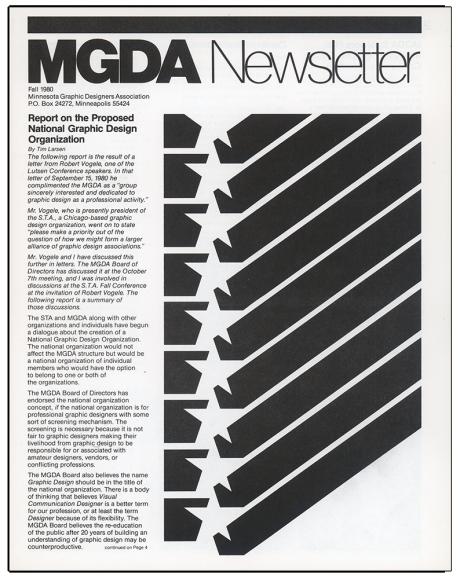 MGDA Newsletter, Fall 1980, Designer: Bob Fleming