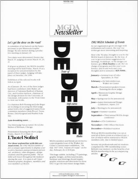 MGDA Newsletter, Designer & Editor: Heather Soladay, 1982