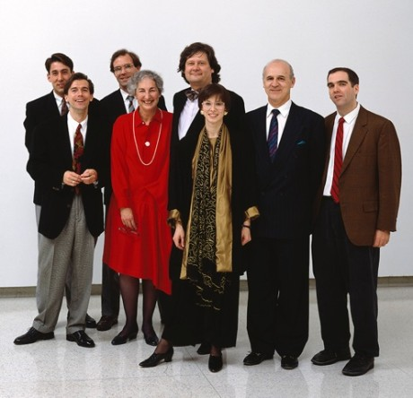 Mickey Friedman with Walker designers at the opening of Graphic Design in America, 1989 Left to right: Jeff Cohen, graphic designer; Glenn Suokko, senior graphic designer, Robert Jensen, design director; Mickey Friedman; James Johnson, chief graphic designer; Lorraine Ferguson, chief graphic designer; Peter Seitz, design curator; and John Calvelli, graphic designer.