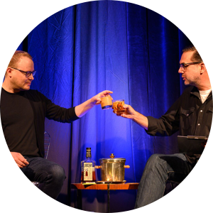 Seth Johnson and Brent Stickels toast onstage at Design Camp 2019