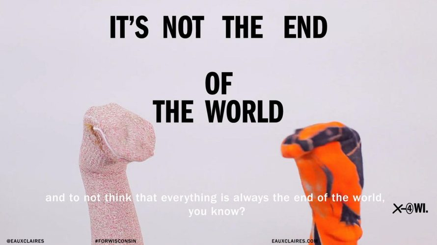 "two handpuppets with the text, ""It's not the end of the world"""